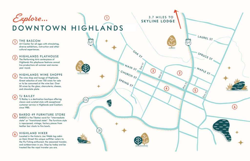 zoomed in illustration of the map of downtown highlands