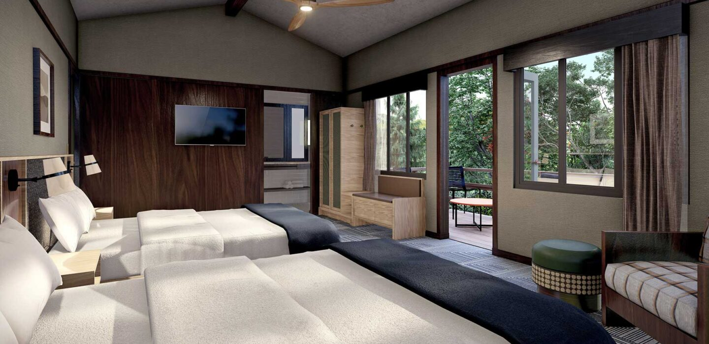 Rendering of two double beds in guest room with large windows and ceiling fan