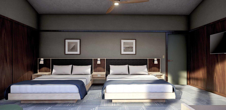 facing towards Big Creek Double Queen beds in modern, rustic guestroom