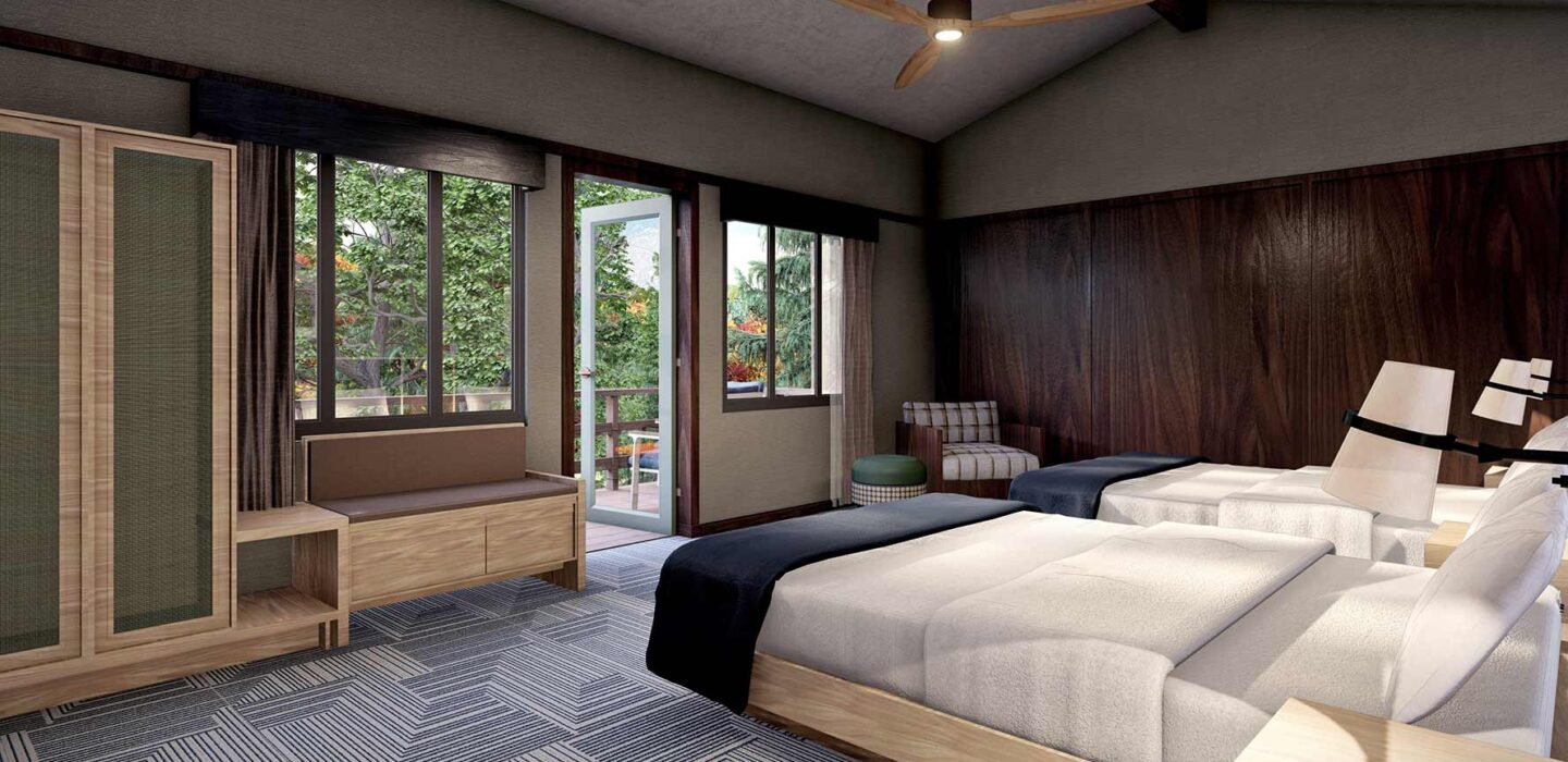 Big Creek Double Queen beds and large wooden armoire
