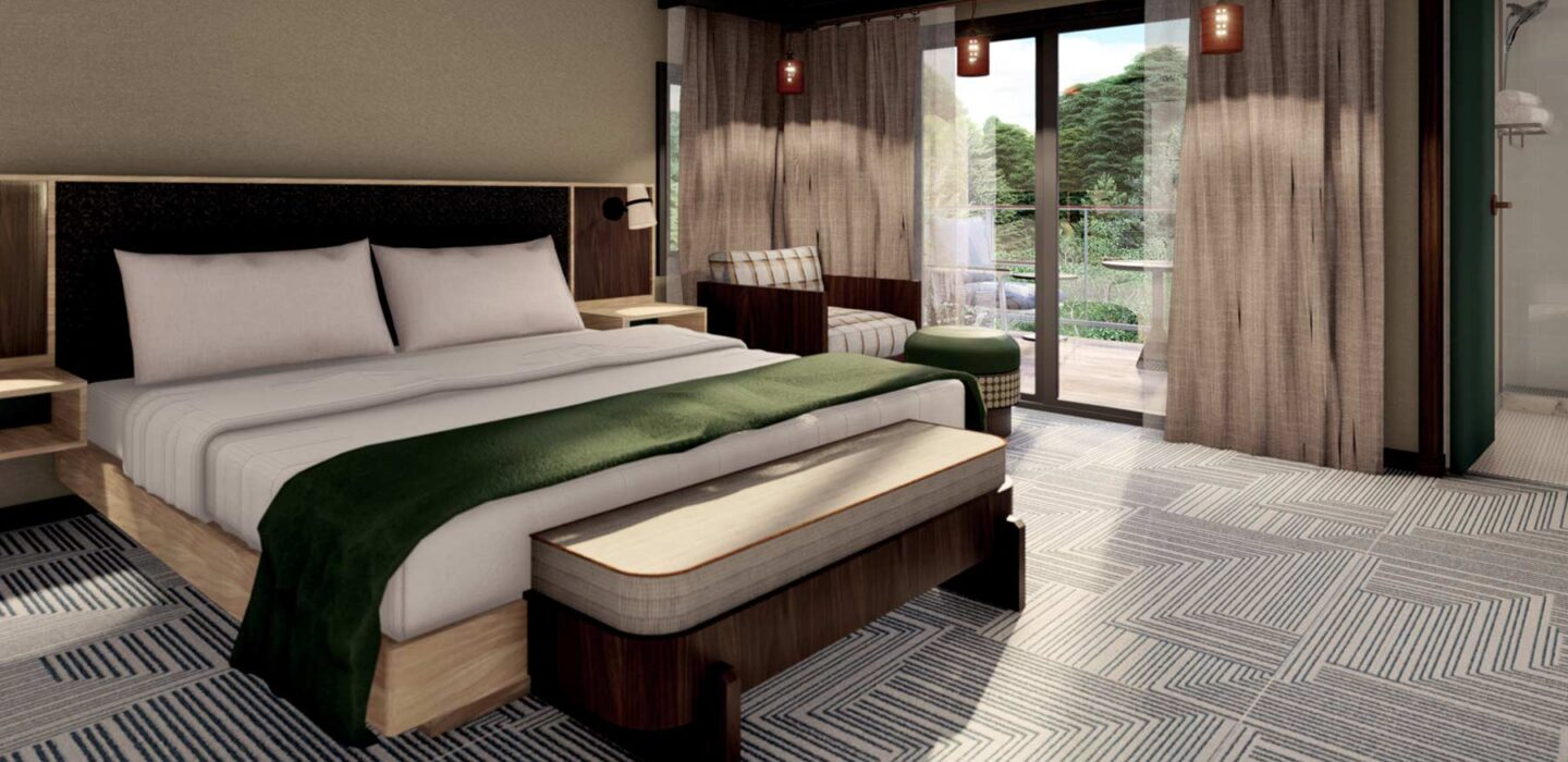 rendering of a suite with a king bed next to a glass door leading to a patio