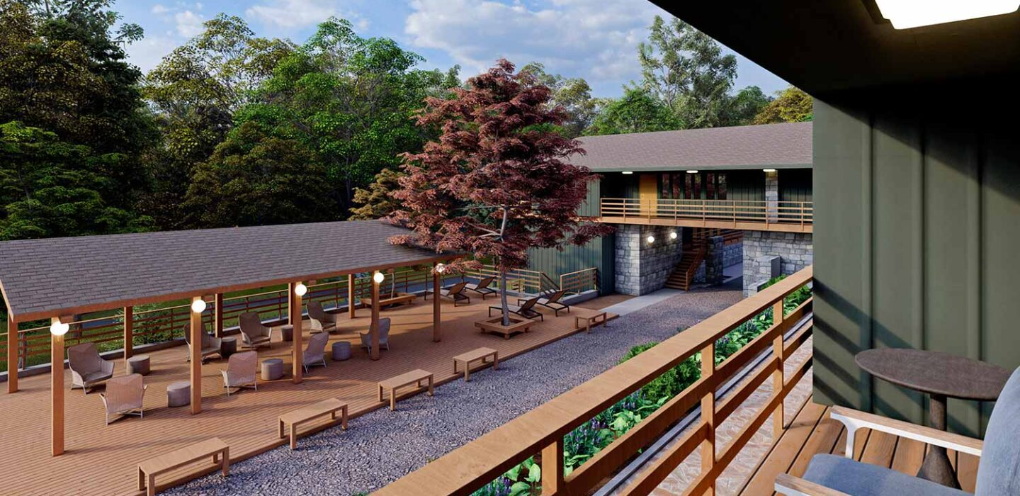 rendering of an outdoor deck area at Skyline Lodge