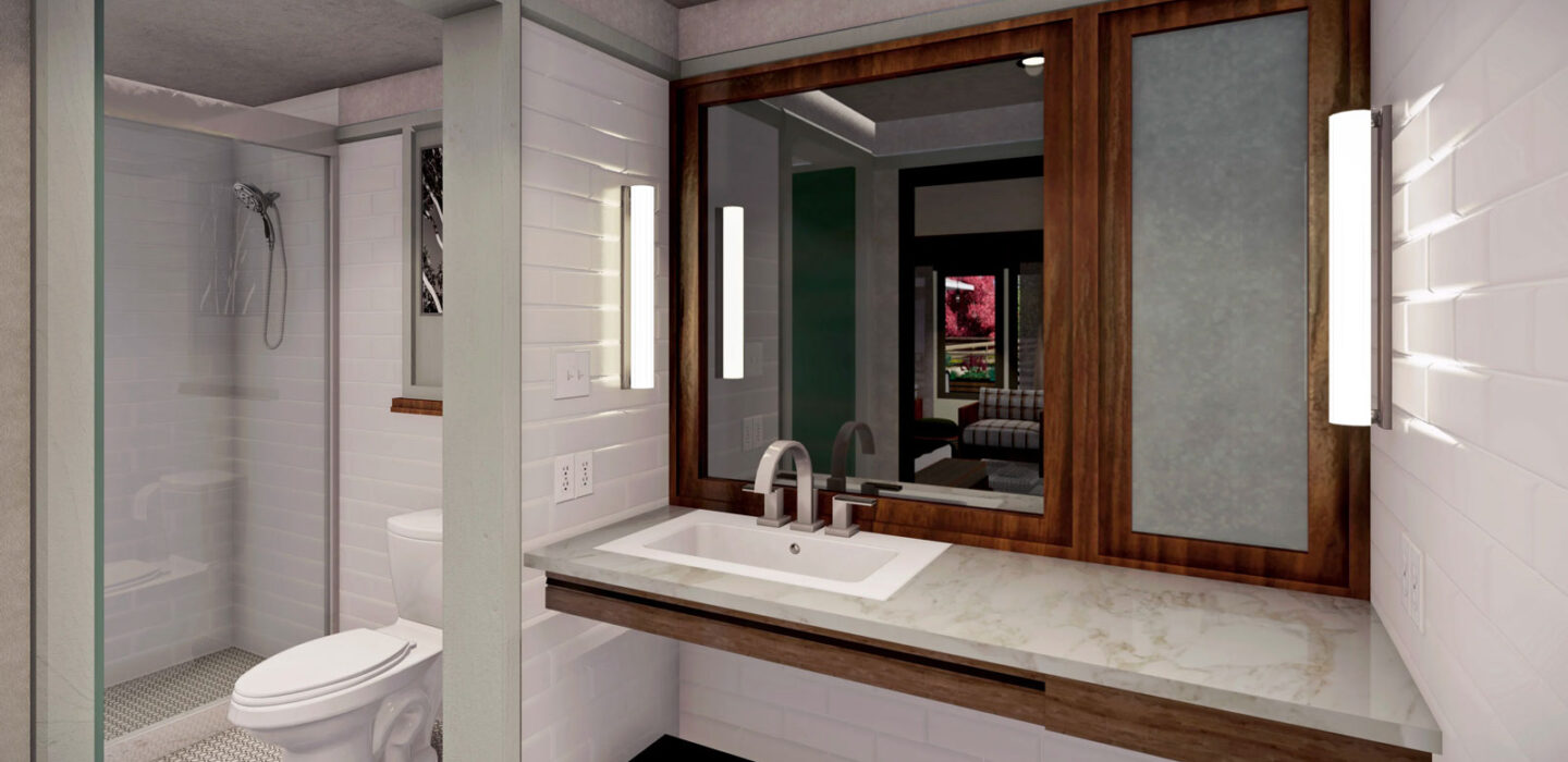 rendering of a bathroom with a separate toilet and shower area and a marble vanity