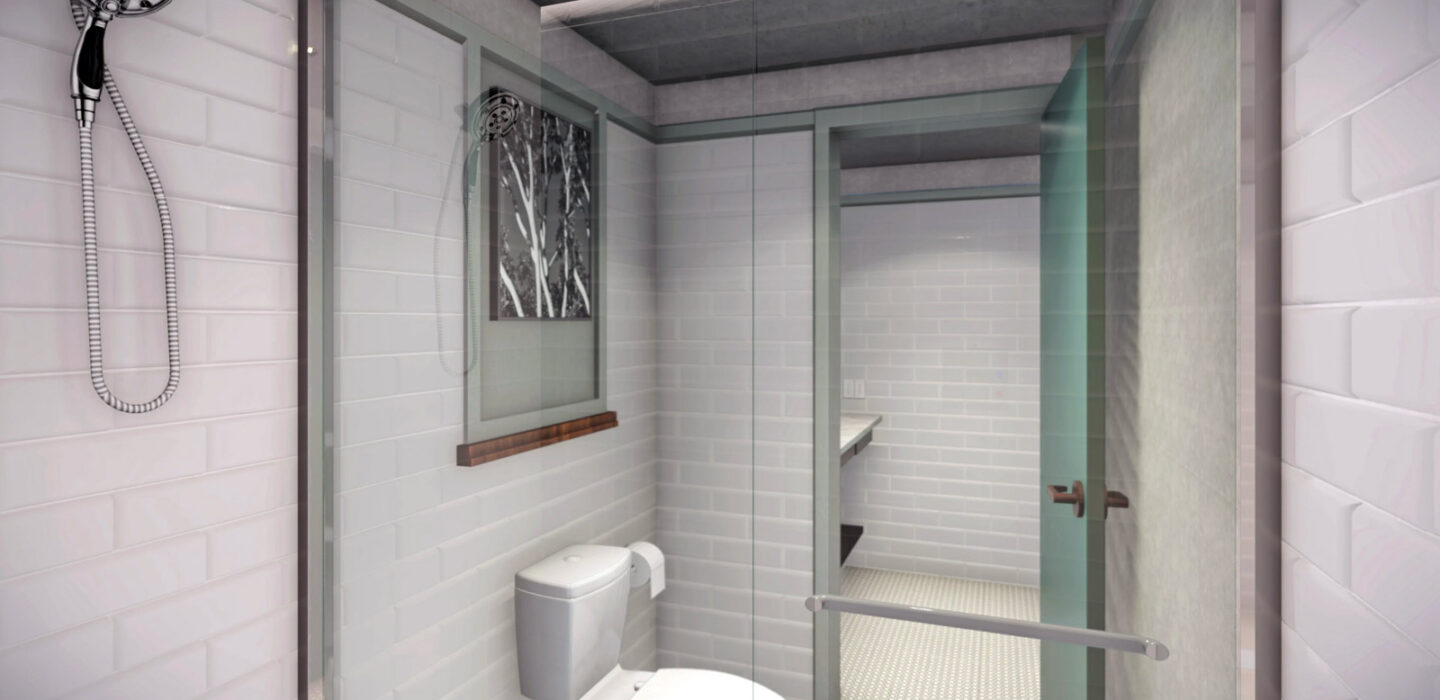 rendering of a white tiled bathroom shower with a toilet next to it