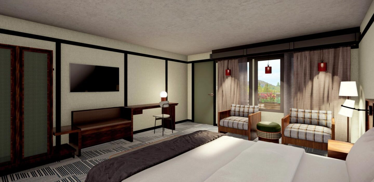 rendering of suite room with a large bed in front of a television and two small couches next to it