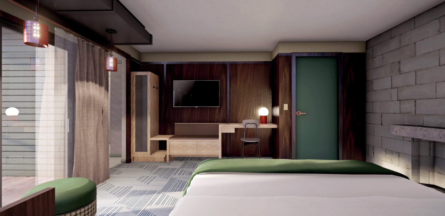 suite room rendering with a large bed and a large glass door leading outside