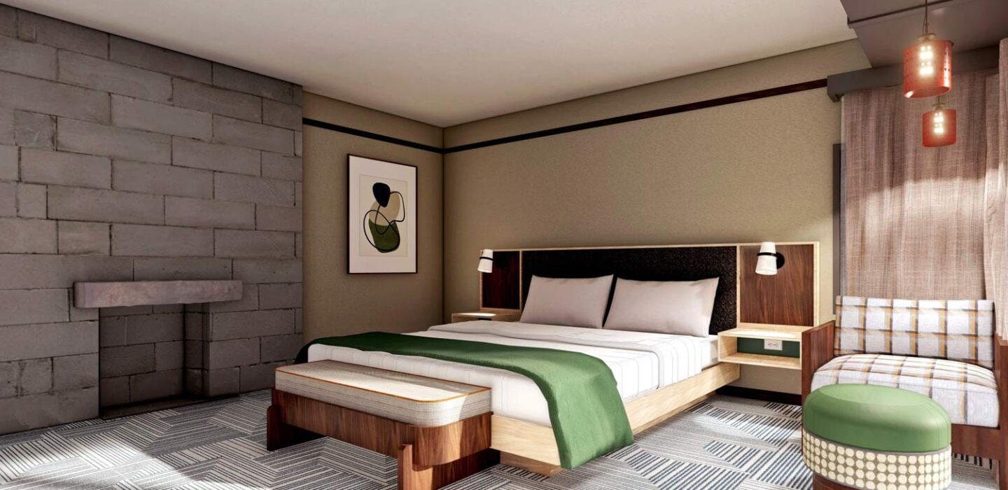 rendering of a suite with a king bed with a small bench seat in front of it