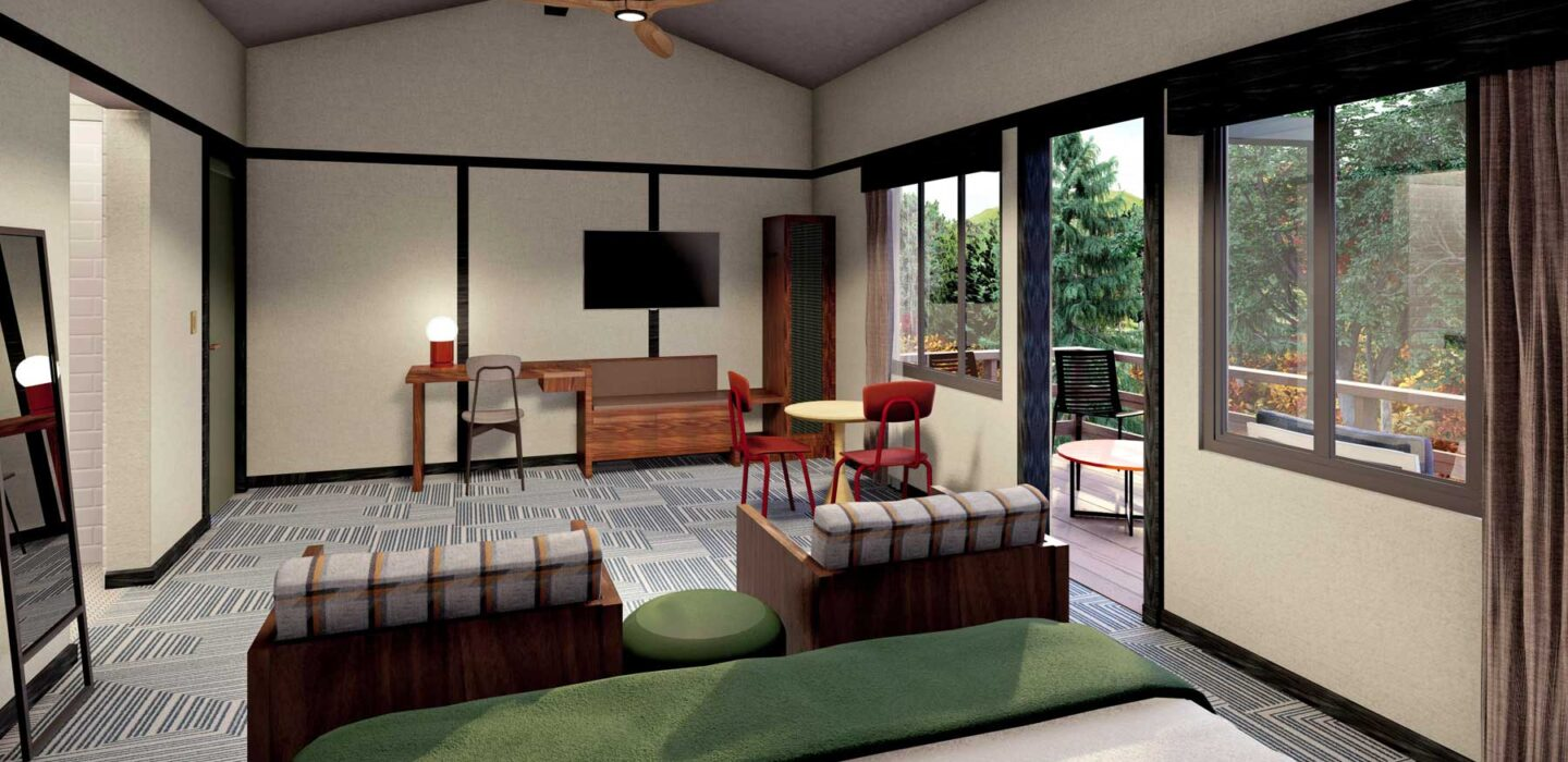 suite room rendering with a large bed and small seating area next to the door to the patio