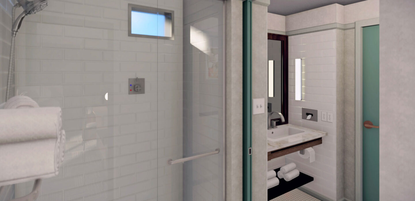 rendering of a white suite bathroom with a glass door shower