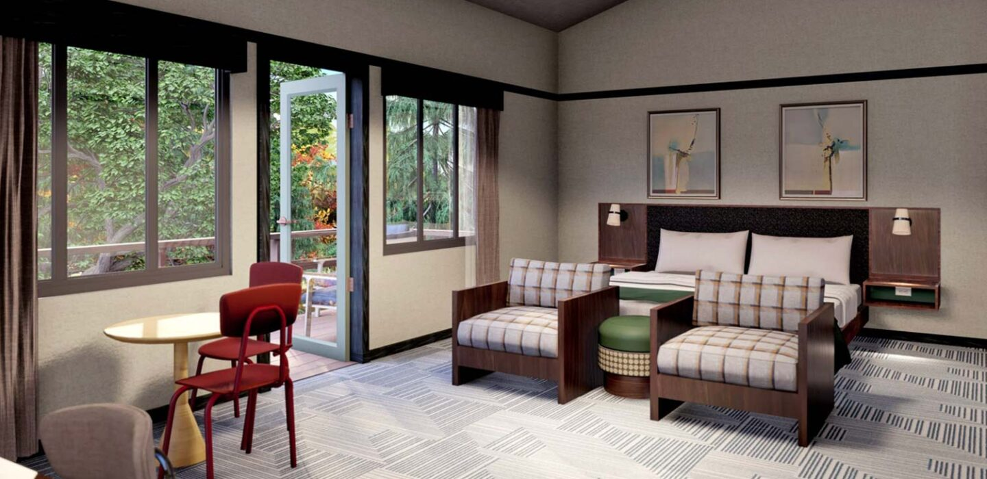 rendering of a suite with a king bed with two small couches in front of it