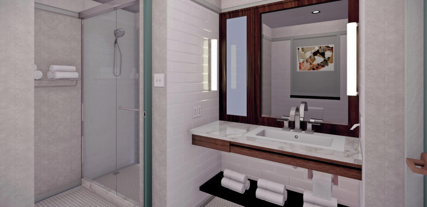 rendering of a white suite bathroom with a glass door shower and a marble countertop vanity