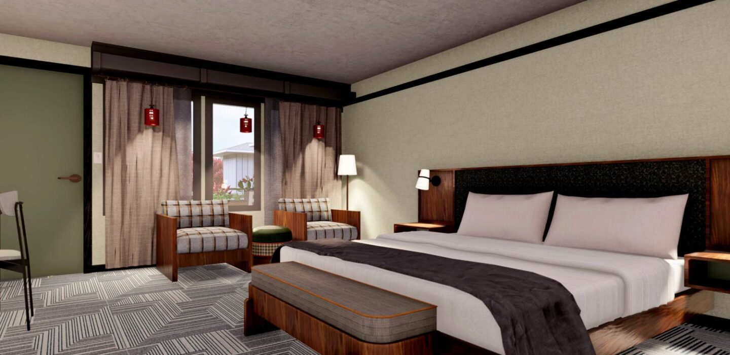 rendering of a suite with a king bed next to a two small couches under a window