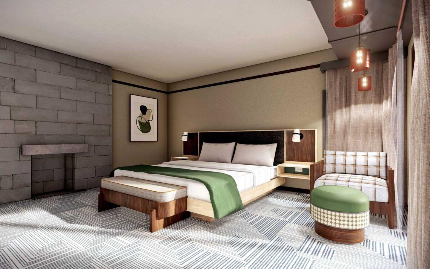 the wright suite rendering with a large bed with a fireplace on the opposing wall