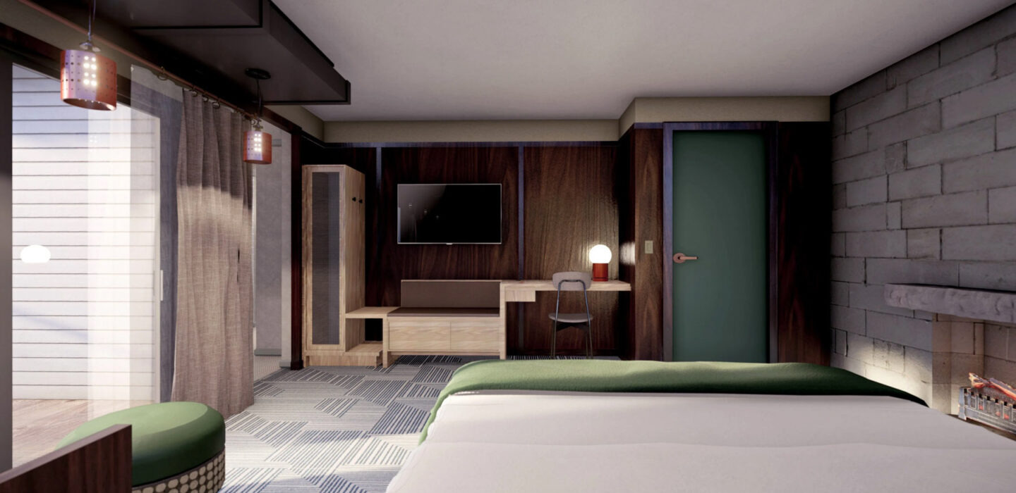 the wright suite rendering with a large bed and a large glass door leading outside