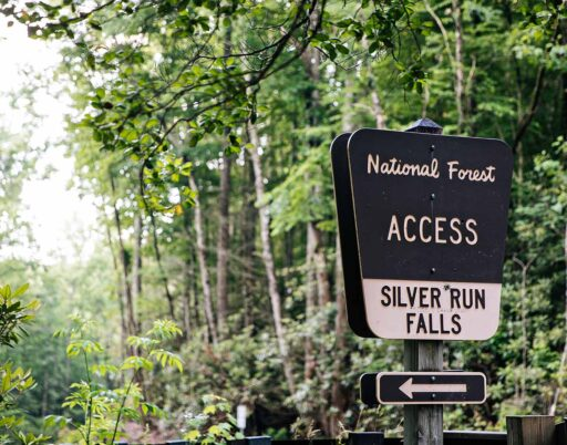 National Forest Access to Silver Run Falls sign in the woods