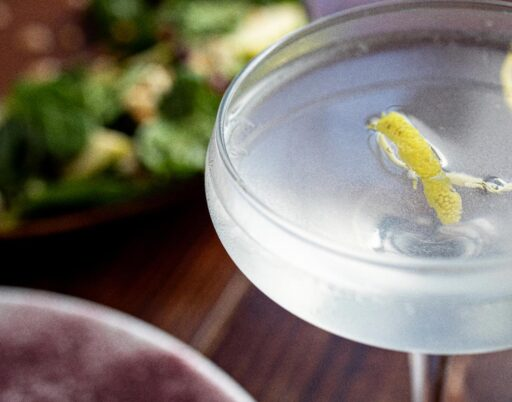 closeup of a clear cocktail with a dried lemon garnish