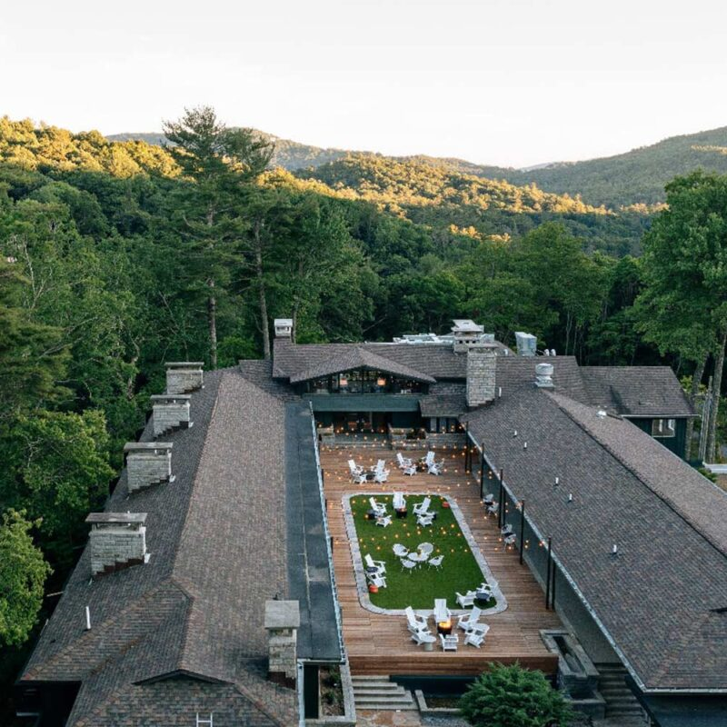 overhead view of Skyline Lodge surrounded by a large forest