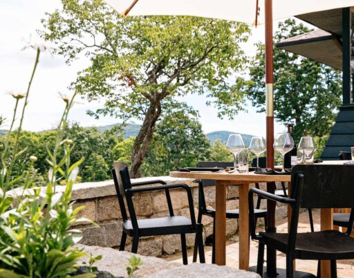 outdoor restaurant table with a table umbrella overlooking the forest