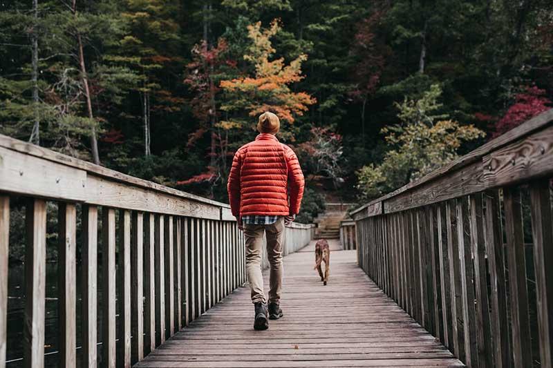 man walking on bridge beside a dog during daytime